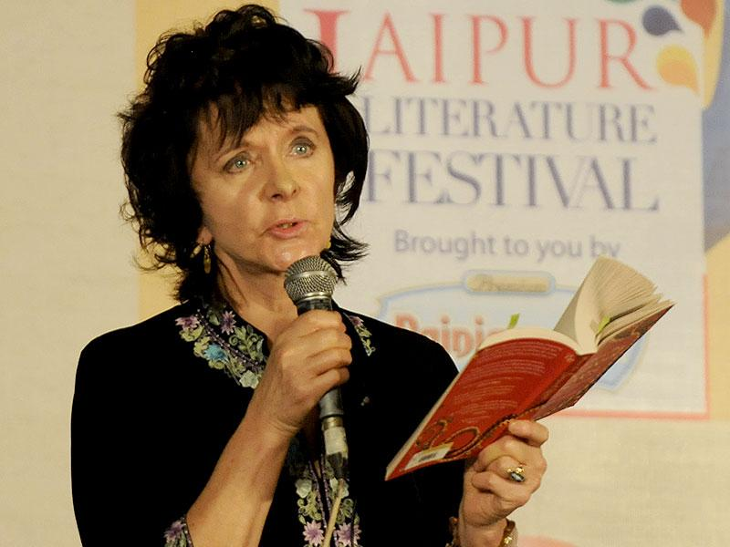 Ruth Padel at a session on Tiger in Red Weather during the Literature Festival in Jaipur. (Photo: Mohd Zakir / Hindustan Times)