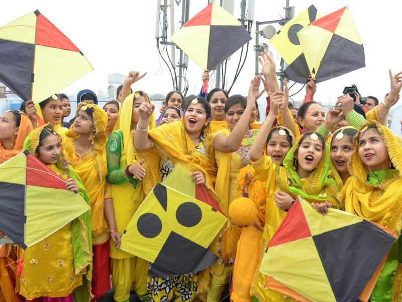 Students enjoying kite flying during Basant Panchami celebrations in Amritsar on Friday. Sameer Sehgal/HT