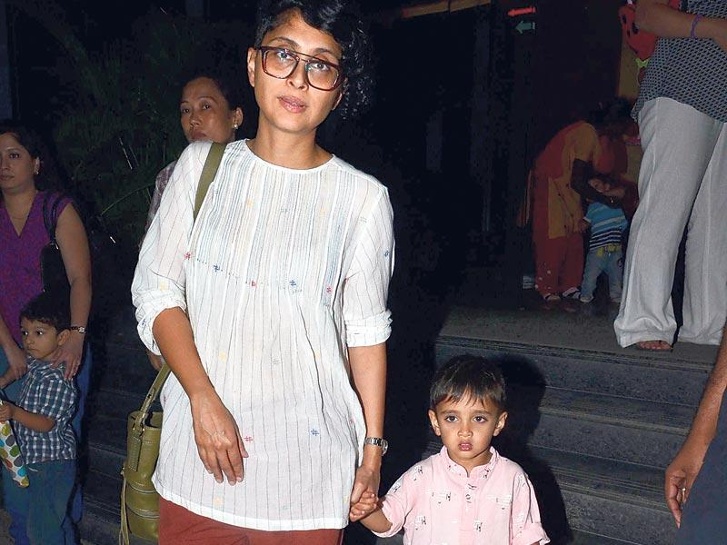 Kiran Rao and her son Azad Rao Khan were seen leaving a party in Worli, Mumbai. (Photo: Viral Bhayani)