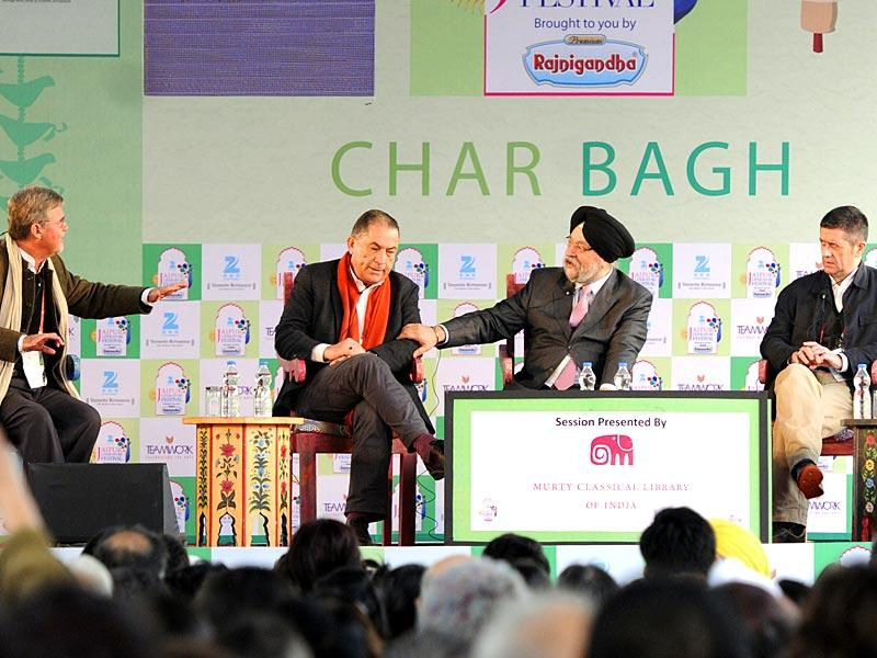 From left, Kai Bird, Gideon Levy, Hardeep Singh Puri, Adam Lebor and Fedy Joudah at a session on 'The Twilight Zone: Between Arabs and Israelis' during the Literature Festival. (Photo: Mohd Zakir /HT)
