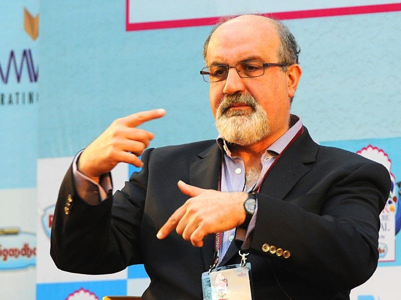 Nassim Nicholas Taleb at a session on 'Black Swan: The Impact of the Highly Improbable' during the Literature Festival. (Photo: Mohd Zakir /HT)