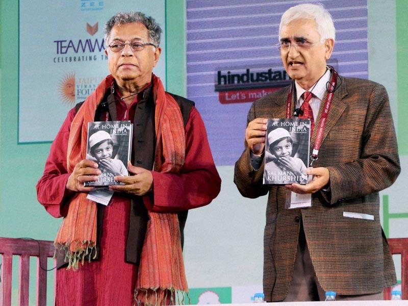 Girish Karnad, Salman Khurshid during the book launch of 'At Home of India - Muslim Saga' at Jaipur literature Festival. (Photo: PTI)