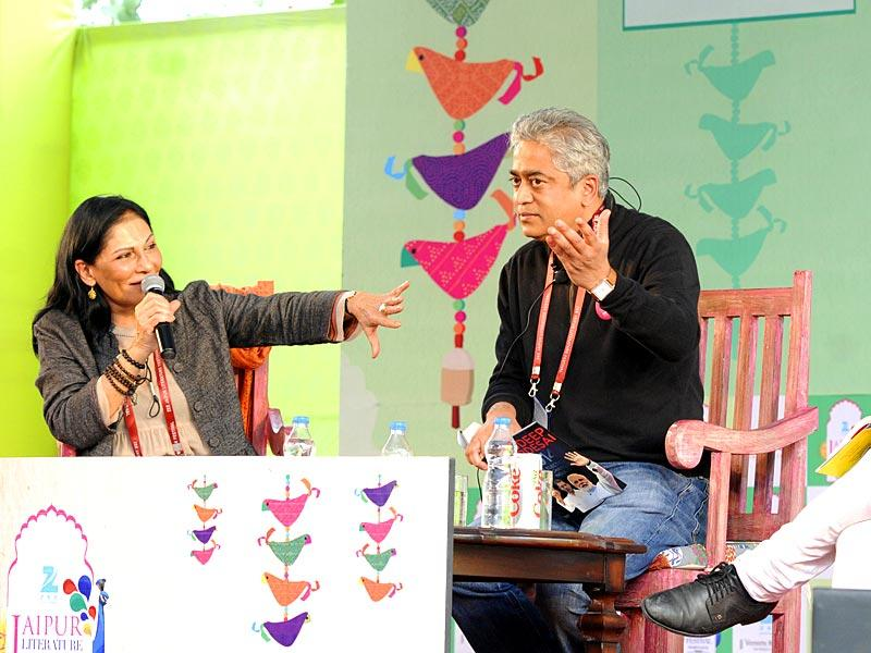 From left, Madhu Trehan, Rajdeep Sardesai and Mihir Sharma at a session on