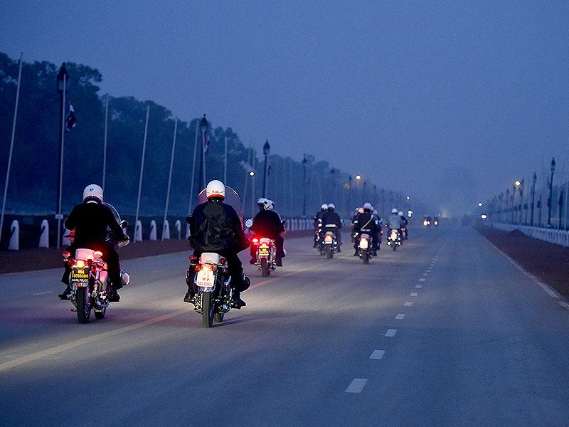 Defence personnel ride their bikes during a security drill at Rajpath, New Delhi. (Sonu Mehta/HT Photo)