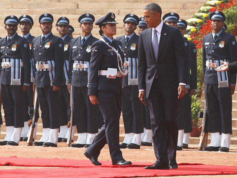 Wing Commander Puja Thakur led the Guard of Honour for US President Barack Obama at Rashtrapati Bhavan, in New Delhi. (Raj K Raj/HT Photo)