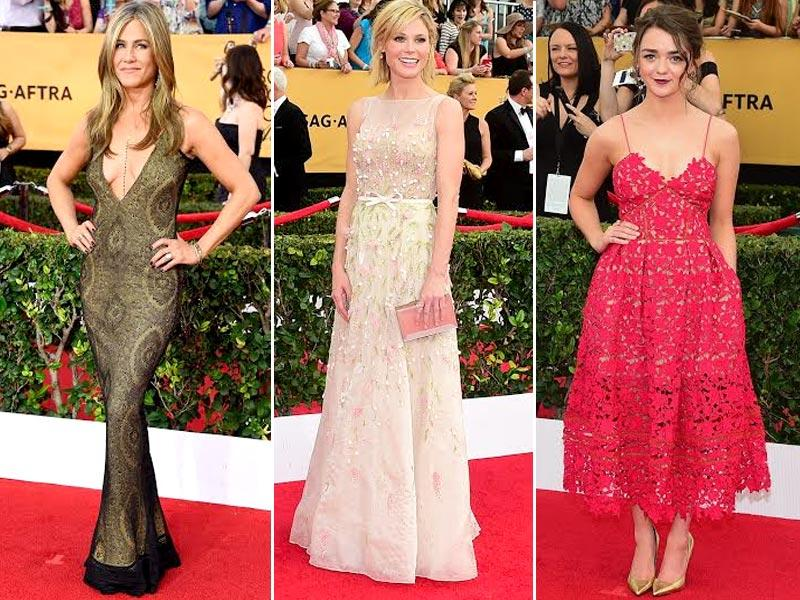 From left: Actors Jennifer Aniston, Julie Bowen and Maisie Williams at the Screen Actors Guild Awards red carpet in Los Angeles, California.