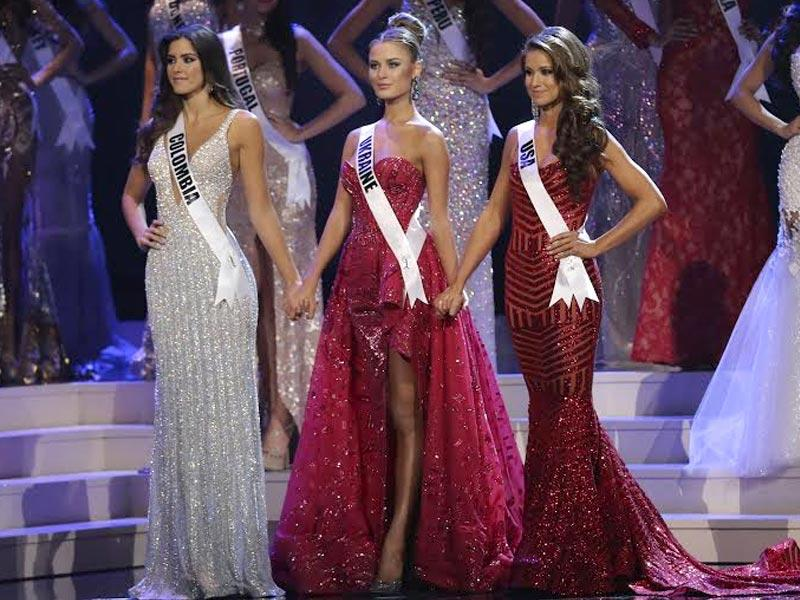 Miss Colombia Paulina Vega, Miss Ukraine Diana Harkusha and Miss USA Nia Sanchez onstage during The 63rd Annual Miss Universe Pageant in Miami, US. (AFP)