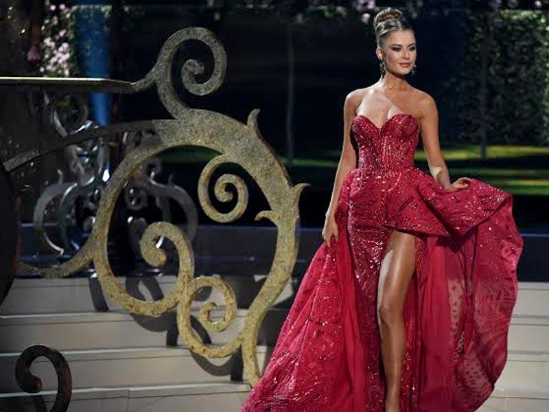 Miss Ukraine Diana Harkusha participates in the evening gown competition at the the 63rd annual Miss Universe pageant. (AFP)