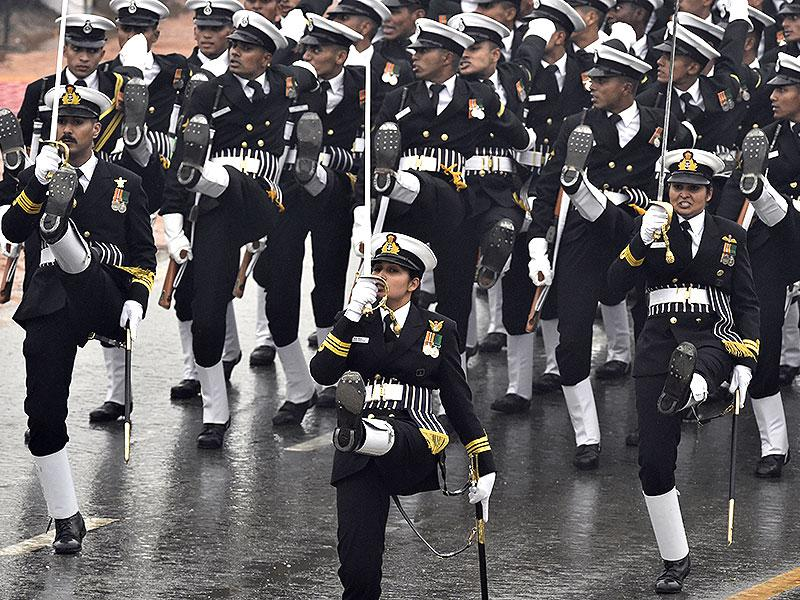 An Indian contingent marching at the Republic Day parade. (Sonu Mehta/ HT Photo)