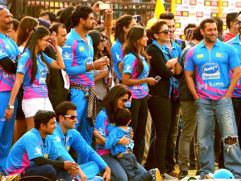 Bollywood actors and members of Mumbai Heroes members in CCL Salman Khan and Sohail Khan in Sardar Patel Stadium in Ahmedabad on Sunday. (PTI Photo)