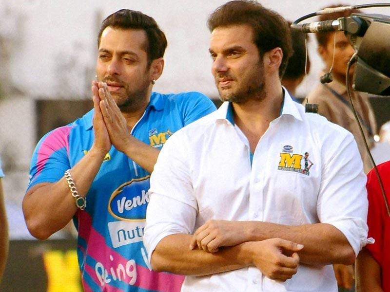 Salman Khan and Sohail Khan at a Celebrity Cricket League match in Sardar Patel Stadium, Ahmedabad on Sunday. (PTI Photo)