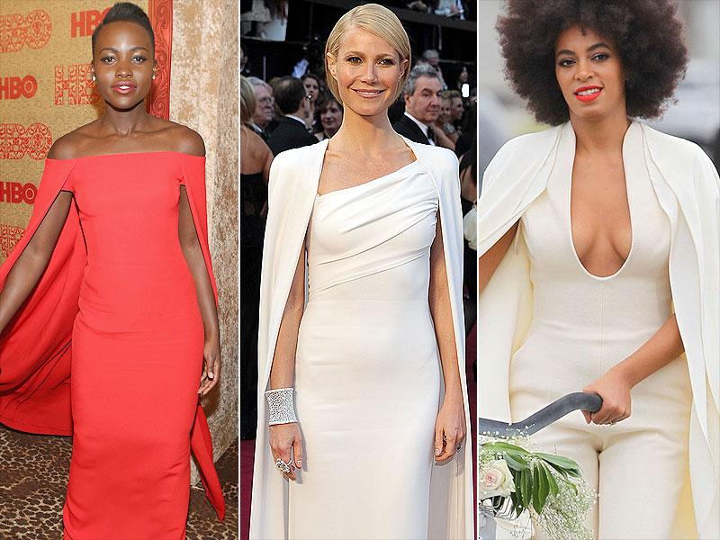 Capes: Before Lupita Nyong'o won over Best Dressed lists with her Ralph Lauren cape gown at the 2014 Golden Globes, Gwyneth Paltrow was chic and a vision in Tom Ford white at the 2012 Oscars. Solange Knowles even wore a Humberto Leon for Kenzo cape number for her wedding portraits.