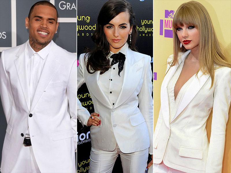 White suits: Both the men and the ladies love to rock a chic white suit on the red carpet.