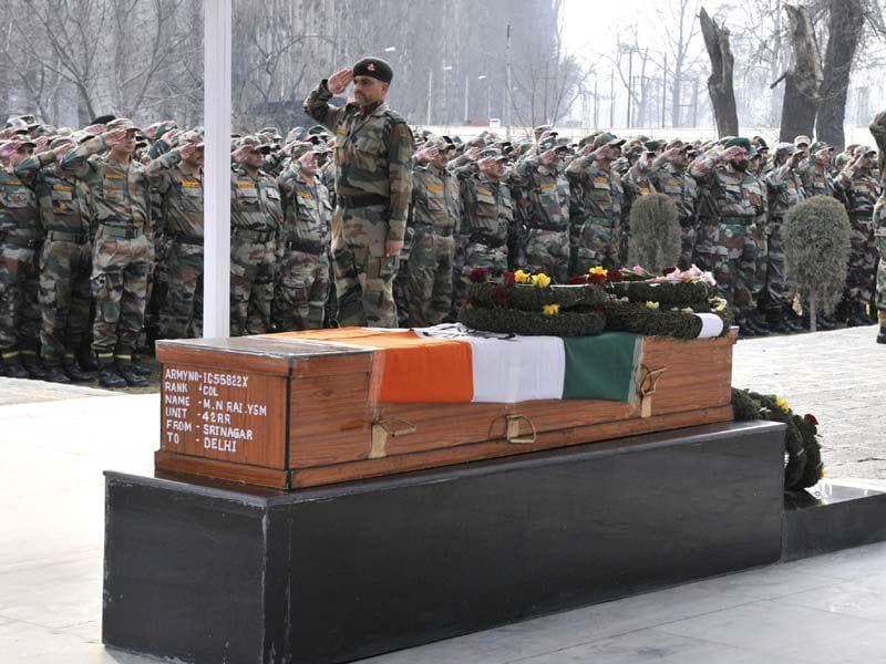 Colonel Munindra Nath Rai was killed in a gunfight at Pulwana district on Tuesday. Waseem Andrabi/HT