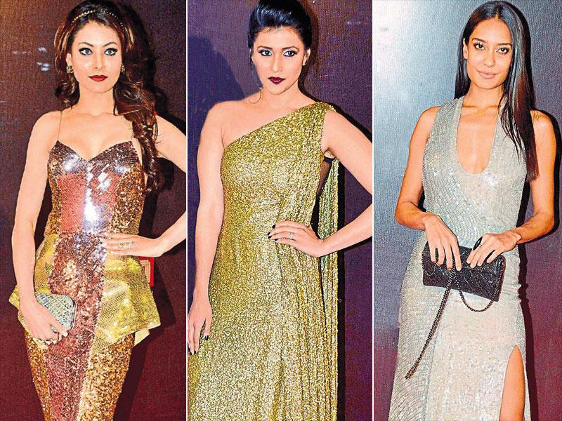The 'polished' and the 'dazzling' is back in vogue! Indeed, it is the season to show off some of the ­metals that make our bones. Glittering and ­futuristically-styled-outfits were the preferred choice of several celebrities at a ­recently-held award ­function. Seen here: actors Mannara Handa, Urvashi Rautela and Lisa Haydon.