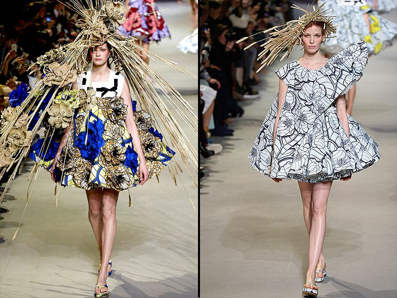 Viktor&Rolf: A surreal exploration of print took shape with flower petals that seemed to open up and escape the garments, transforming 2D prints into 3D, often resulting in some surprisingly wearable pieces. Yet another nod to life in the country -- straw hats speared with sheaves of barley sought to create new organic unity where hat and dress become one.