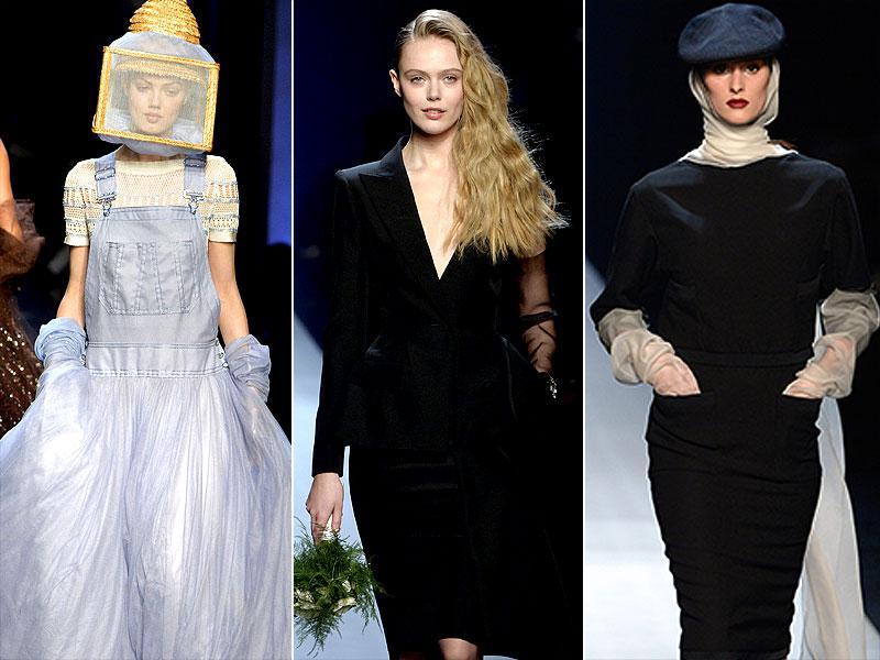 Jean Paul Gaultier: His new collection consists of a number of black and white looks, but there are also shades of café au lait, bronze, ivory and eggshell and a few touches of more vibrant colors such as hot pink, neon green and red. There were even some colorful python prints in the mix.