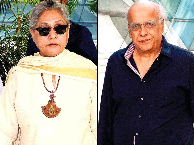 Jaya Bachchan and Mahesh Bhatt as they alight at Mumbai airport. (HT photo)