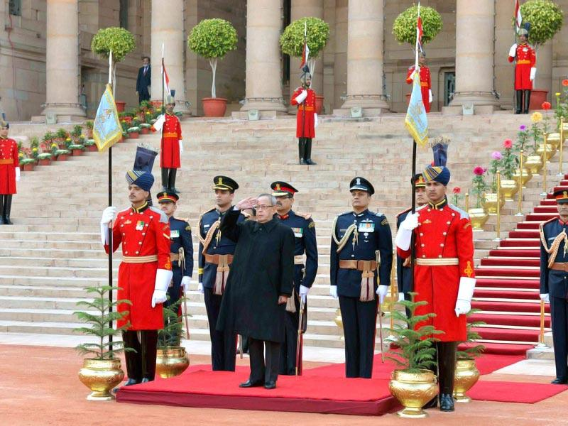President Pranab Mukherjee before leaving for Beating Retreat ceremony from the forecourt of Rashtrapati Bhavan in New Delhi on Thursday. (PTI Photo)