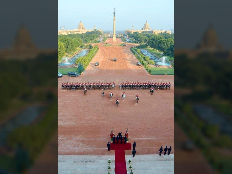 The President leaves for Beating Retreat from Rashtrapati Bhavan. The ceremony owes its origins to an ancient custom when warring armies would halt fighting at sundown and lower flags to attend to the wounded, and eat and rest. (PTI Photo)