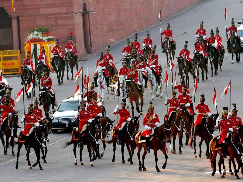 President Pranab Mukherjee arrives for the Beating Retreat ceremony. Seventeen military bands, 10 pipes and drums bands from regimental centres and 8 pipes and drums bands from battalions, buglers and trumpeters from various army regiments performed at the ceremony. (PTI Photo)