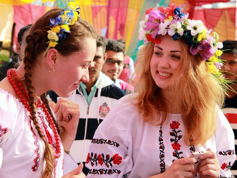 Students from Ukraine participating in 3rd International VIBGYOR fest-2015 at Baba Farid Group of Institutions in Bathinda on Friday. Sanjeev Kumar/HT