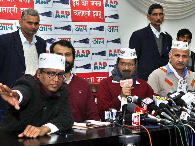 AAP leader Arvind Kejriwal talks to the media after releasing the party's manifesto for the Delhi assembly elections at Constitution Club in New Delhi. (Sushil Kumar/HT Photo)