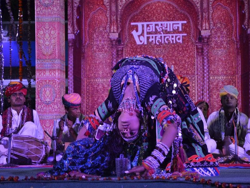An artist performs Kalbelia dance during Rajasthan Mahotasav organised at Bharat Bhawan in Bhopal on Sunday. (Mujeeb Faruqui/HT photo)