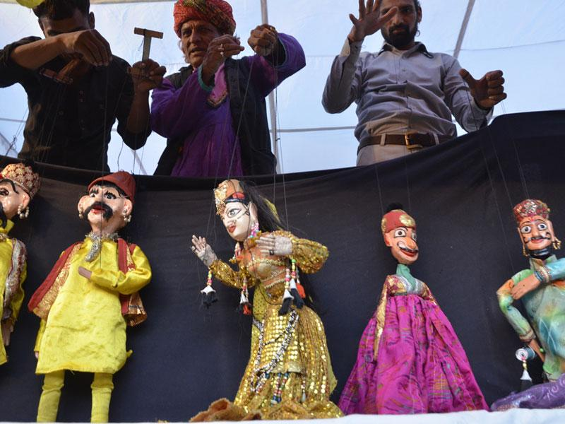 A puppet show organised during the ongoing Rajasthan Mahotsav at Bharat Bhawan in Bhopal on Sunday. (Mujeeb Faruqui/ HT photo)