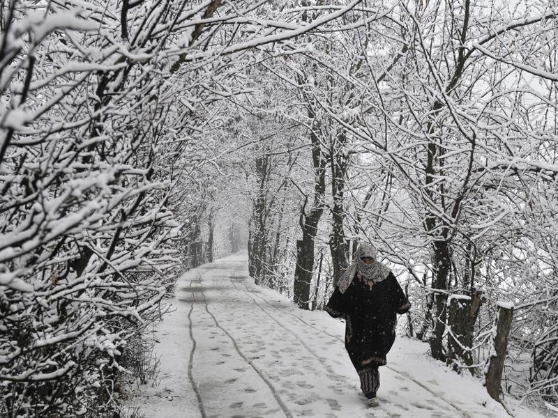 A woman walks on a snow covered road during snowfalll in Srinagar. Waseem Andrabi/ HT