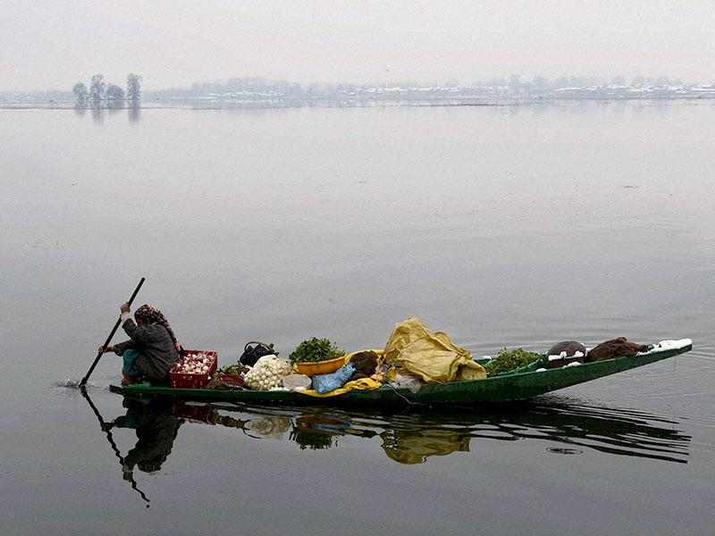 A woman vegetable seller rows her boat after fresh snowfall, at Dal Lake in Srinagar. (PTI photo)
