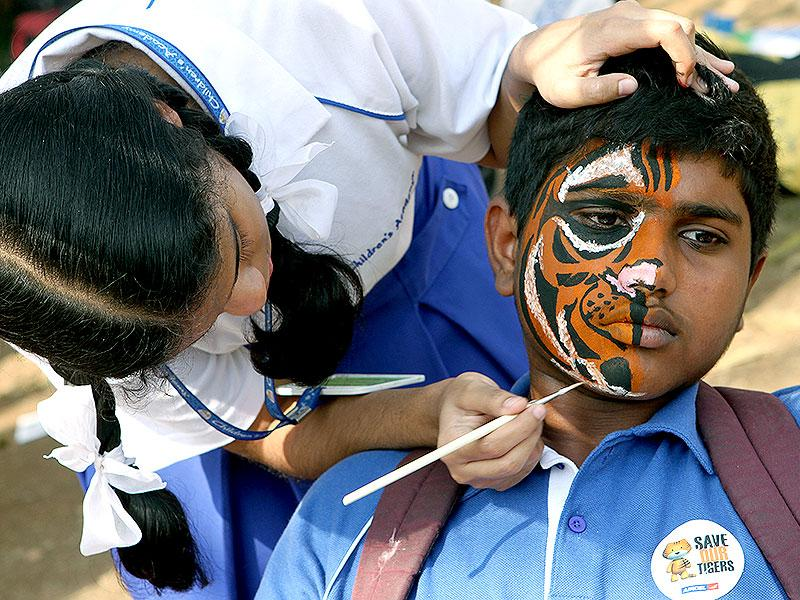 A girl paints tiger stripes on her friend's face during the 'Kids for Tiger' festival, a commitment to tiger conservation, at Maharashtra Nature Park in Mumbai. (Arijit Sen/HT photo)