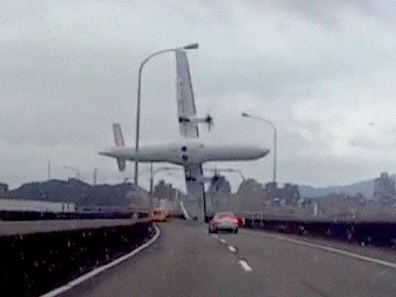 A still image taken from an amateur video shot by a motorist shows the TransAsia Airways plane cartwheeling over a motorway soon after the turboprop ATR 72-600 aircraft took off in New Taipei City. (Reuters)