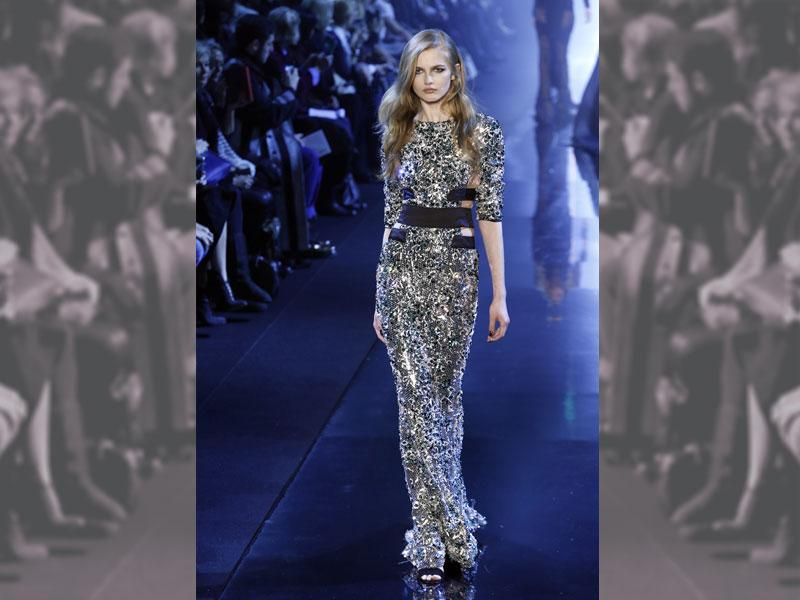 A heavily embellished show-stopping gown by designer of the moment Alexandre Vauthie