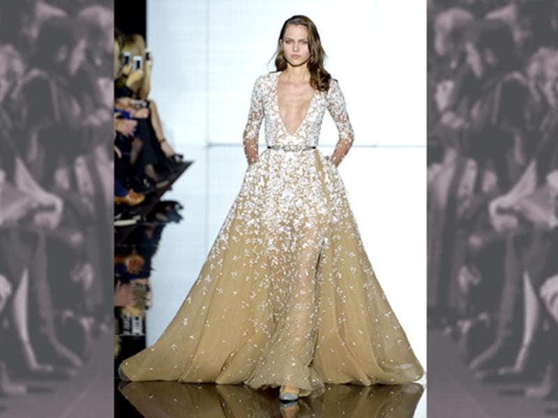 Zuhair Murad's take on the deep V neckline - one of Paris Haute Couture designers' biggest obsessions this season