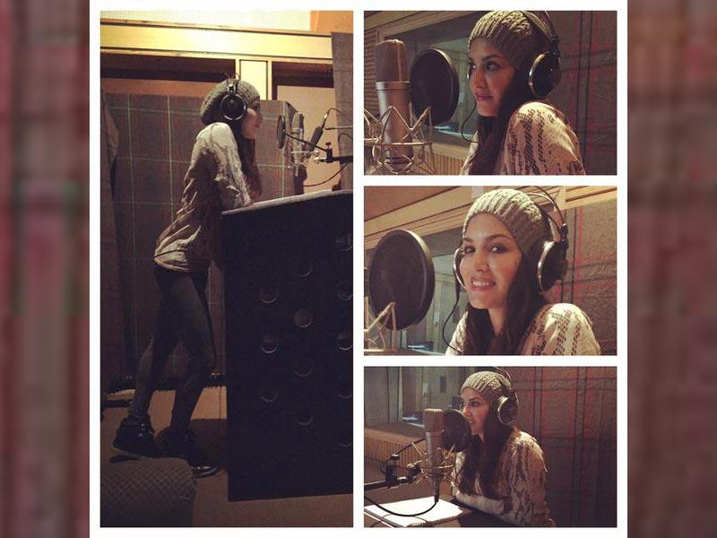 Dubbing for Mastizaade: the many moods of Sunny Leone in the recording studio. (SunnyLeone/Twitter)