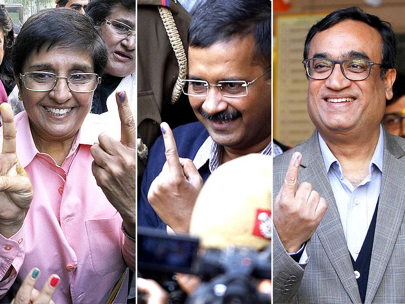 Kiran Bedi, Arvind Kejriwal and Ajay Maken are the chief ministerial candidates of the BJP, AAP and Congress respectively. (HT Photo)