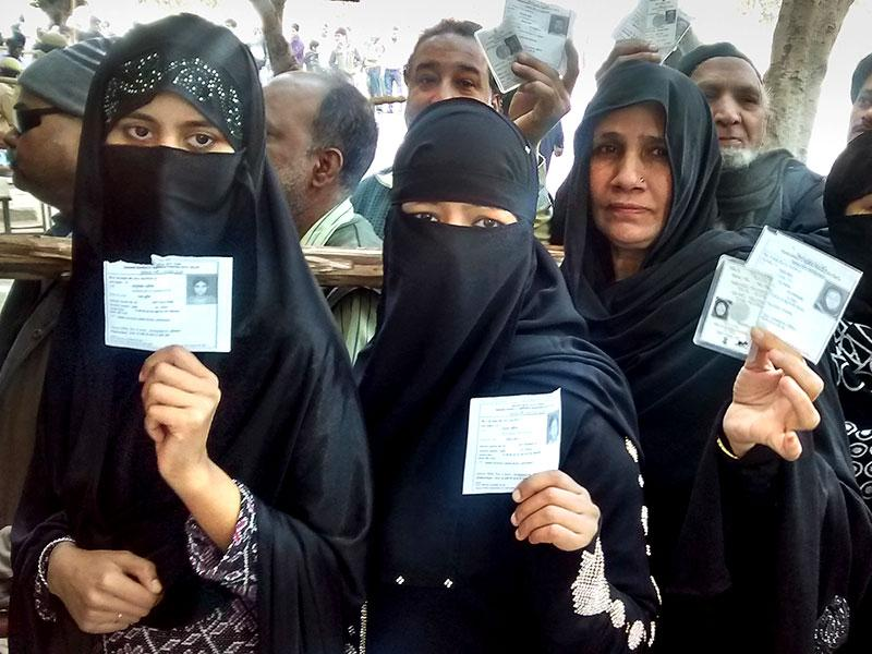 People stand in queue to cast their vote during the Delhi assembly Elections. (HT Photo/Sonu Mehta)