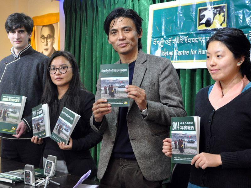 Tsering Tsomo director along with officials of Tibetan Centre for Human Rights and Democracy (TCHRD) releasing its annual report on Human Rights Situation in Tibet at Dharamsala on Saturday. Shyam Sharma/HT