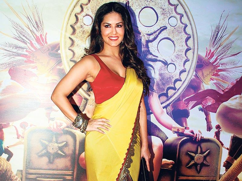 Sunny Leone strikes a desi pose at the trailer launch of her upcoming film Leela. (HT photo)