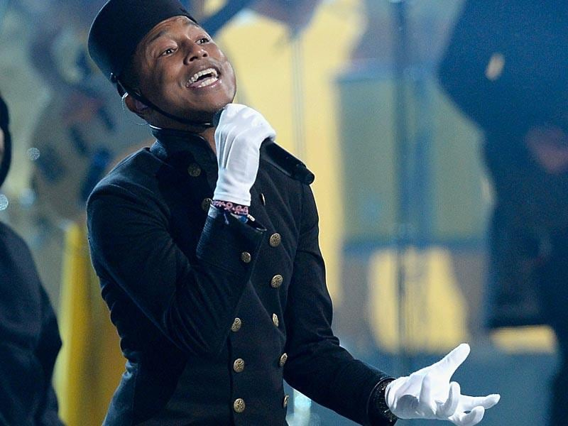 Pharrell Williams channels The Grand Budapest Hotel's bellhop as he performs his summer sensation Happy. (Photo: AFP)