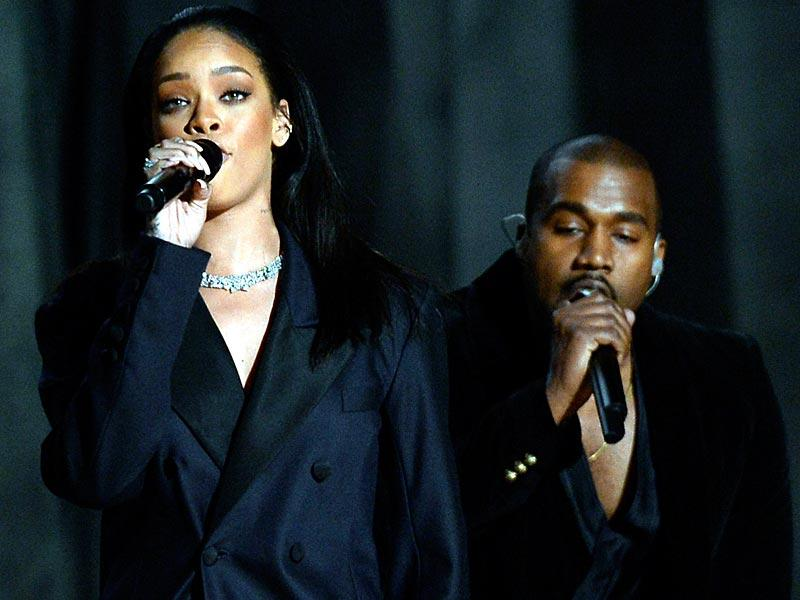 A toned down Rihanna took to the stage with Kanye and Paul McCartney as they debuted FourFiveSeconds. (Photo: AFP)