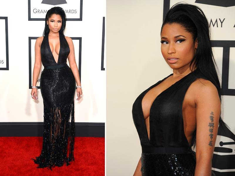 Anaconda singer Nicki Minaj arrives on the red carpet for the 57th Annual Grammy Awards. (AFP)