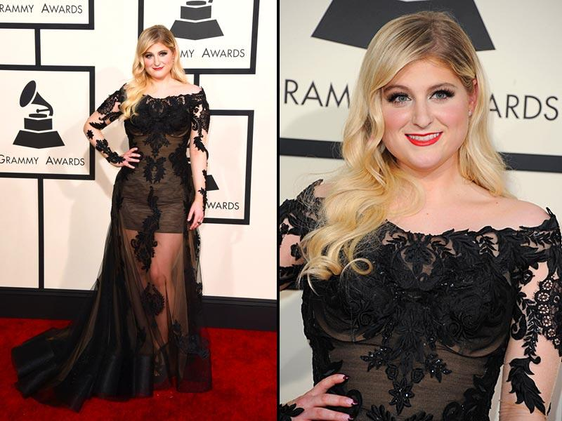 Singer Meghan Trainor arrives at the 57th annual Grammy Awards in Los Angeles. (Reuters)