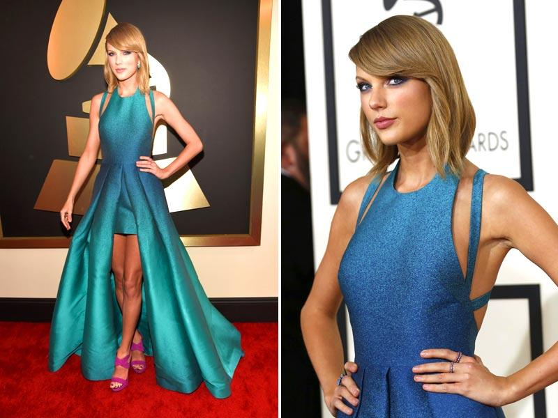 Pop singer Taylor Swift arrives at the 57th Annual Grammy Awards in Los Angeles. (Reuters)