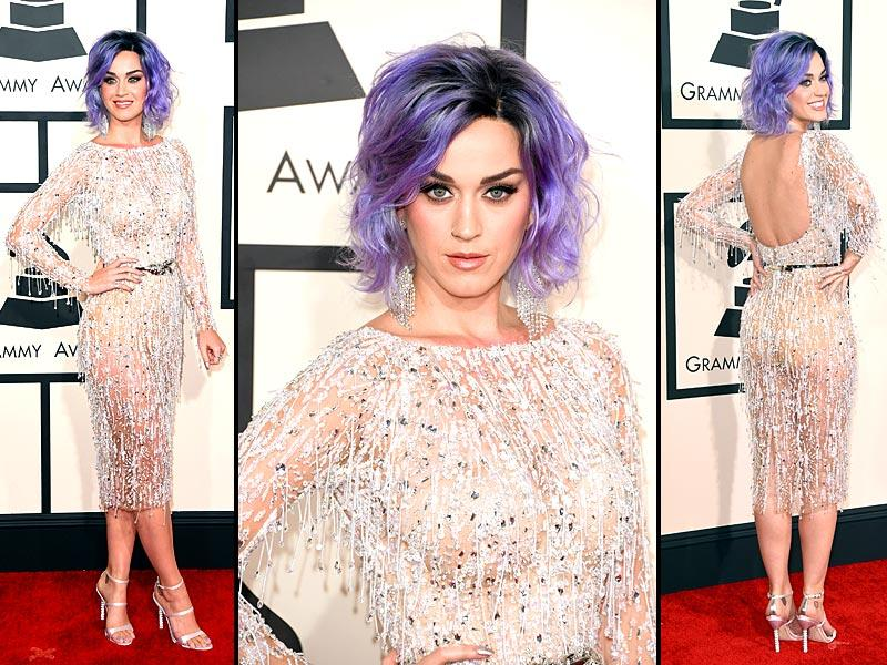 Katy Perry stepped out at the 2015 Grammy Awards rocking a bright new lavender hue. And you just can't miss her glittering eye-catching ensemble. (Reuters)