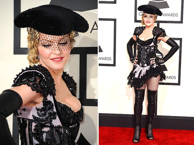 Seven-time Grammy winner Madonna arrives on the red carpet for the 57th Annual Grammy Awards in Los Angeles. (AFP)