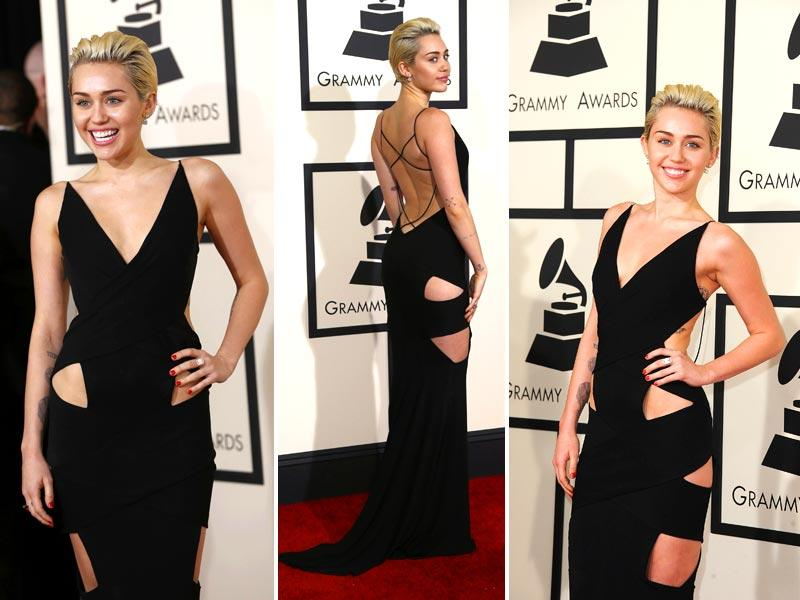 The often outrageously dressed Miley Cyrus scored a 10 out of 10 and looked amazing in a cut-out dress at the 2015 Grammy Awards. (Reuters)
