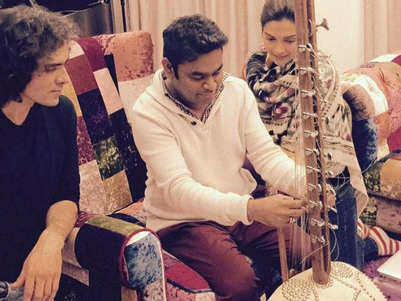 Team Tamasha, filmmaker Imtiaz Ali and actor Deepika Padukone pay a surprise visit to AR Rahman, who is also working on the movie that stars Ranbir Kapoor in the lead role. (Photo: ARRahman/Facebook)