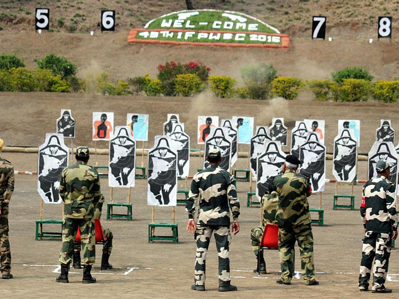 Shooters from different frontiers take part in the 45th inter-frontier shooting championship in Indore on Tuesday. (Shankar Mourya/HT photo)